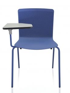 Silla Glove azul con pala de escritura tablero Kompress gris