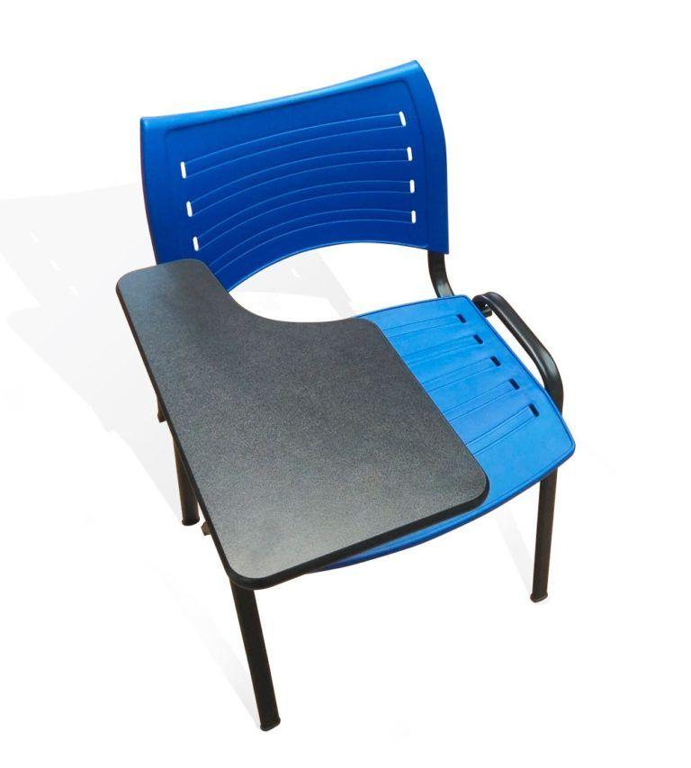 Silla New College azul con pala de madera