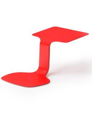 Asiento con mesa de trabajo portátil en color rojo.